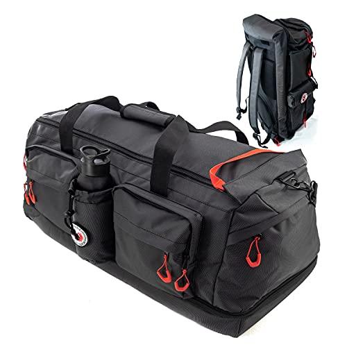 RYP-DO Sporttasche 3 in 1 - Reisetasche Schwarz - Rucksackfunktion - 70+ Liter mit 7 Taschen, Trennwänden und...