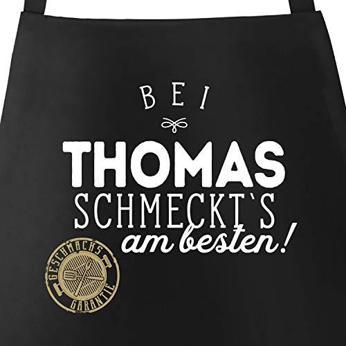 MoonWorks Grill-Schürze Küchenschürze mit Spruch Bei Personalisiert schmeckt`s am besten Grillen Kochen...