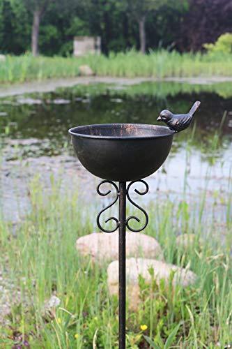 AmaCasa Vogeltränke Vogelbad Vogelbecken Wassertränke Tränke Wasserschale Stecker Braun Eisen