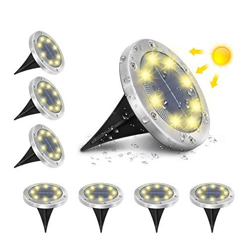 AMBOTHER A-SL-01 Solar Bodenleuchten, 8 LEDS Solarleuchten Solarlampen Gartenleuchten für Außen, 3000K...