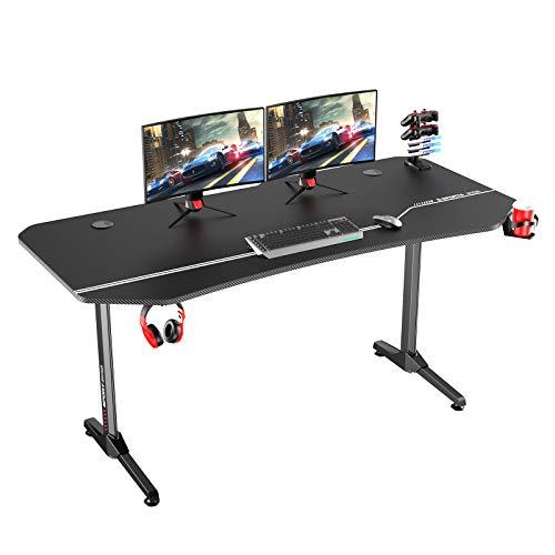 DlandHome Ergonomischer Gaming Tisch Pro PC-Schreibtisch 160 cm Computertisch Gamer mit Große Mauspad...