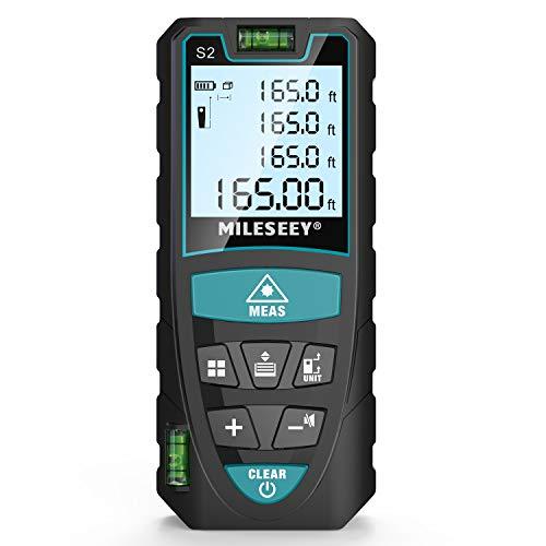 Laser Entfernungsmesser 50m, Mileseey by RockSeed Distanzmessgerät mit 2 Blasenebenen & LCD...