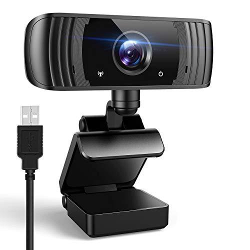 Webcam 2K mit Mikrofon, 1440P Full HD PC Kamera mit Belichtungskorrektur, 110° Blickfeld, Plug and Play USB...