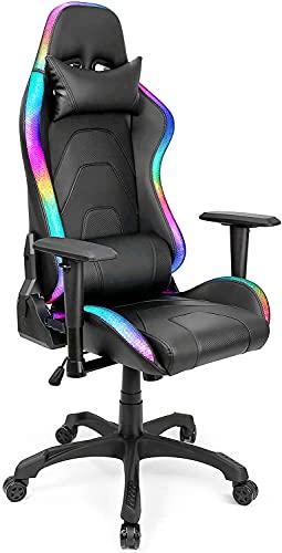 Gaming Stuhl LED Beleuchtung Schreibtischstuhl Gaming RGB Stuhl Beleuchteter Bürostuhl Ergonomischer...