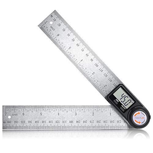 Winkelmesser Digitale Winkelschmiege Lineal 400mm aus Edelstahl mit Feststellfunktion, Messbereich:...