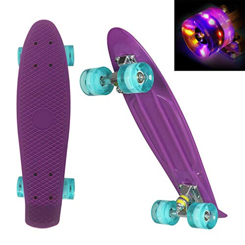 WeSkate 22' Kinder Retro Skateboard mit Buntem Cruiser Board LED-Blitz mit ABEC-7 Kugellager für Kinder,...