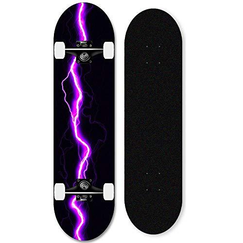 31-Zoll-Ahorn-Skateboard komplettes Deck für Anfänger, professionelles fortgeschrittenes Skateboard-Lila...