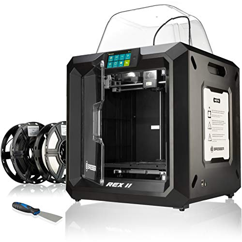 Bresser 3D Drucker REX II WLAN mit 25x28x30cm Bauvolumen, beheizbarer Bauplattform, Druckbett-Levelling, 5'...