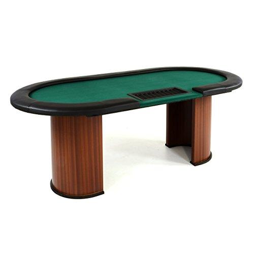 Nexos Pokertisch massiv Casinotisch aus Holz für Poker mit grünem Filzbezug Armlehnen eingelassener Chiptray...