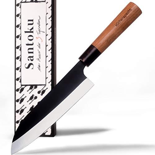küchenspecht Santoku Messer, scharfes Japanisches Küchenmesser mit schwarzer Klinge, Kochmesser, Sushi...