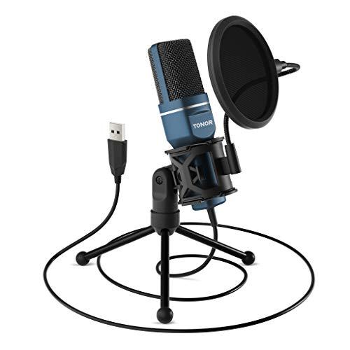 TONOR PC Mikrofon USB Computer Kondensatormikrofon Plug & Play mit Stativ und Pop-Filter für Sprachaufnahmen,...