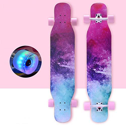 DFWYG Longboard Kinder Anfänger 43 Zoll Vintage Fancy Cruiser Street Skateboards,Mädchen Jungen Erwachsene...