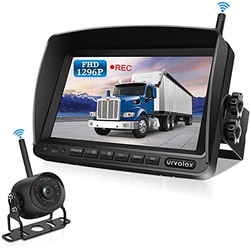 URVOLAX Rückfahrkamera Kabellos,Videoaufzeichnung,7 Zoll Monitor 1296P FHD IPS Bildschirm IP69K Wasserdichte...