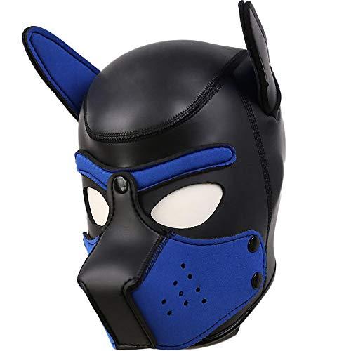 AmaMary Hundemaske,Weiche Latex Petplay Hundemaske mit Ohren Welpenmaske Hunde Masken fr Cosplay Party...