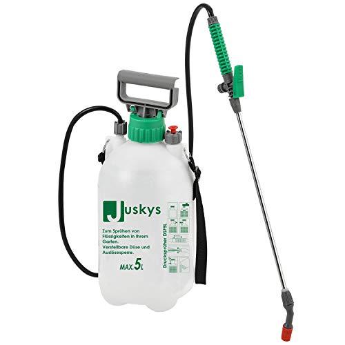 Juskys Drucksprüher DSF5L 5 Liter – Drucksprühgerät mit Überdruckventil & Verstellbarer Düse –...