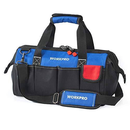 WORKPRO 45,7 cm große Werkzeugtasche Organizer Mehrzwecktasche mit breiter Öffnung und verstellbarem...