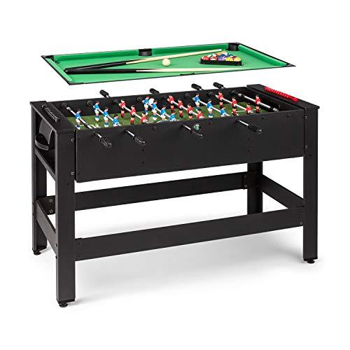 Klarfit Spin 2-in-1 Spieltisch Billardtisch Kicker, Billardtisch: 105 x 58 cm / grüne Bespannung,...