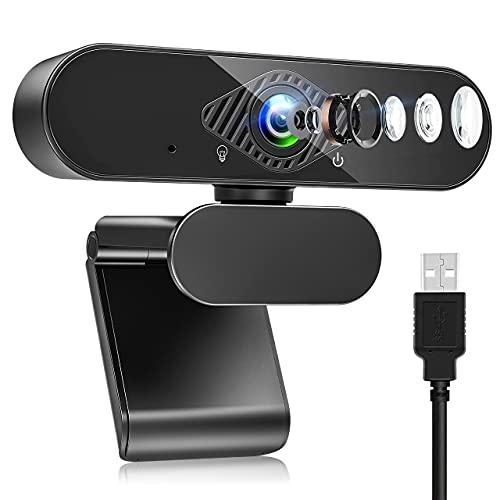 Webcam mit Mikrofon, HD 1080P Web Kamera mit 120° Blickfeld, Belichtungskorrektur und Drehbarem Clip, USB 2.0...