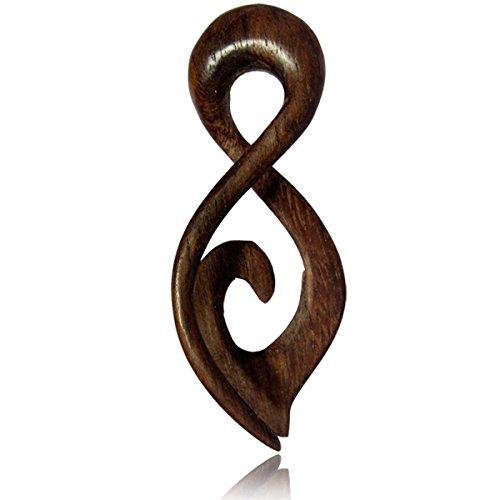 Chic-Net Piercing Narra Holz Twister braun Schlaufe Spitze Spirale Expander gemasert Plug 12 mm