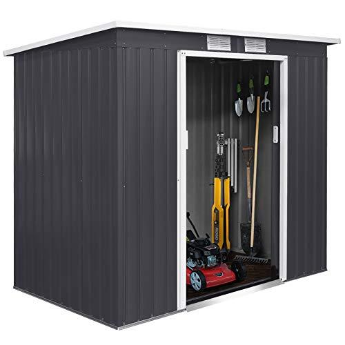 FIXKIT Gerätehaus, Metall Schuppen mit Schiebetür und Fundament | 4 Kubikmeter | Perfekte Lagerung von...
