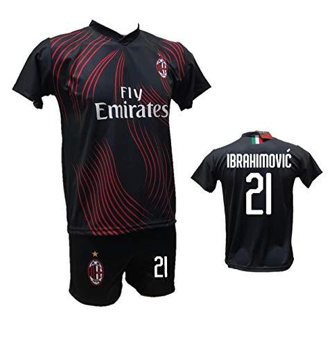 DND von Andolfo Ciro Ganzkörper-Fußbett Milan Terza Trikot Zlatan Ibrahimovic schwarz und Hose mit Zahl 21...