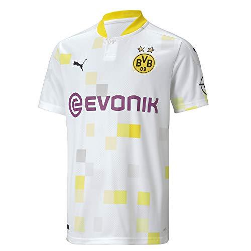 PUMA Jungen BVB Third Shirt Replica SS Jr w/Evonik w/o Opel T White, 152