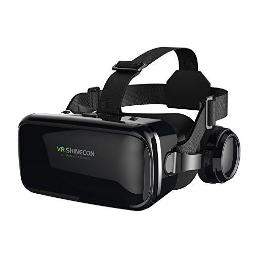 FIYAPOO VR Brille mit Kopfhörern Virtual Reality Headset 3D VR Brille Brille für 3D Filme Videospiele...