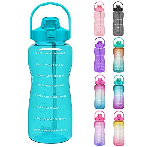 Opard 2L Trinkflasche, BPA Frei Wasserflasche mit Strohhalm, 1-klick Verschluss Auslaufsichere Water Bottle,...