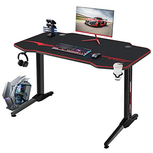 JUMMICO Gaming Tisch Racing Style Computertisch Gamer Tisch 110 cm Großer T-förmiger Schreibtisch mit...
