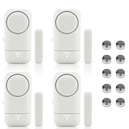 Shackcom 4pcs Fensteralarm Türalarm Selbstklebend Alarm Fenster 120dB mit Wireless Magnetsensor für Home...