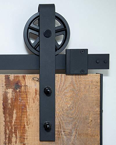 Barnwoodweb Schiebetürsystem Speichenrad 200cm Schiebetürbeschläge Speichenrad Komplett-Set für einen...