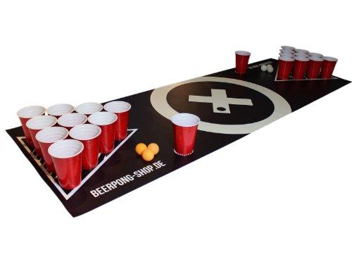 Beer Pong Tisch Matten Set 'Audio Table Design' inkl. 50 Red Cups, 6 Beer Pong Bälle und Regelwerk