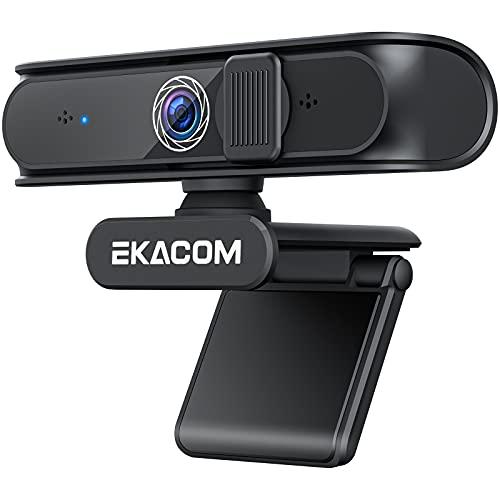 EKACOM Webcam mit Mikrofon, 1080P USB Webkamera für PC, Streaming-Kamera mit Objektivabdeckung und Autofokus,...