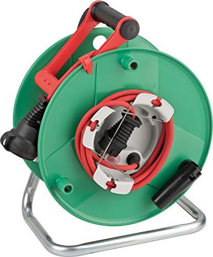 Brennenstuhl Garant G IP44 Gartenkabeltrommel (Kabeltrommel für Rasenmäher mit 23+2m Kabel in rot,...