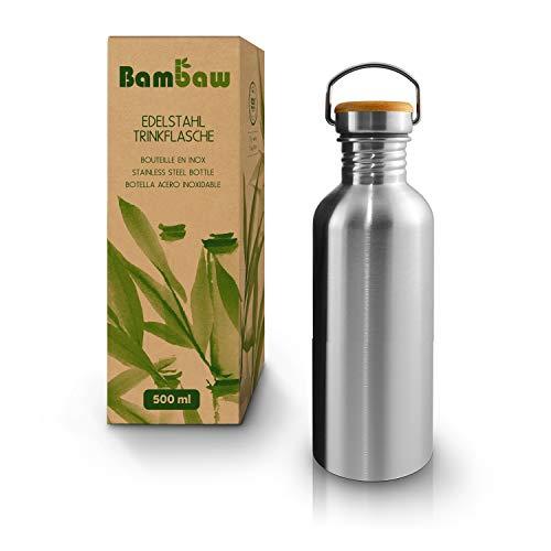 Bambaw Trinkflasche 500ml Edelstahl   Langlebige Wasserflasche 500 ml  Wiederverwendbare öko Wasserflasche  ...