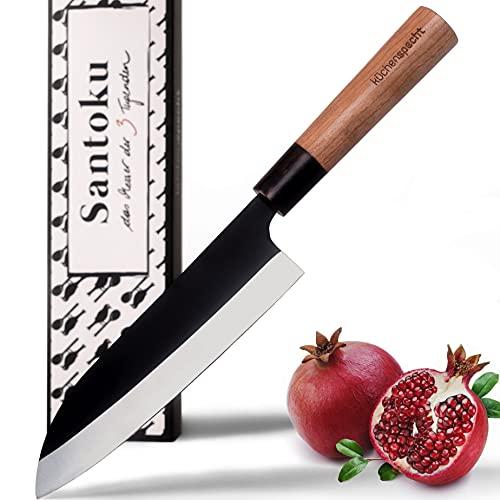 küchenspecht Santoku Messer - 17cm Klinge im einmaligen Design - japanisches Messer mit edlem Kirschholzgriff...