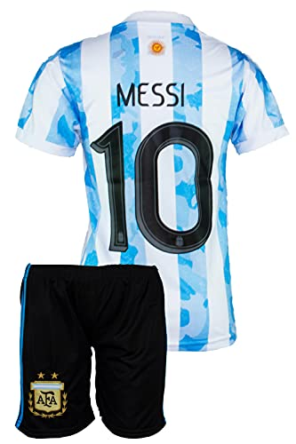 Argentinien #10 Messi Trikot Set 2020/21 Heim Kinder Fussball Trikot Mit Shorts (140, 6-7 Jahre)