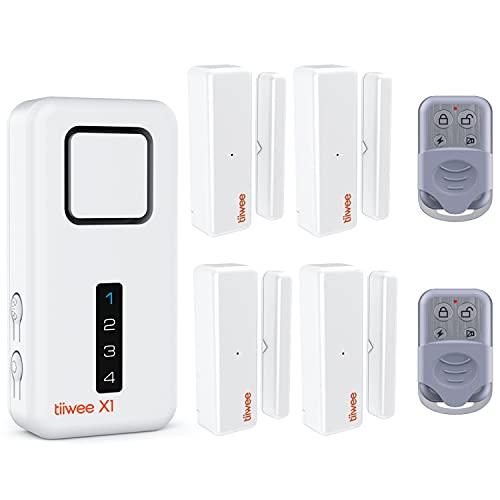 tiiwee Home Alarm System Kit X1 XL - Alarmanlage mit 4 Fenster- oder Tuer Sensoren und 2 Fernbedienungen -...