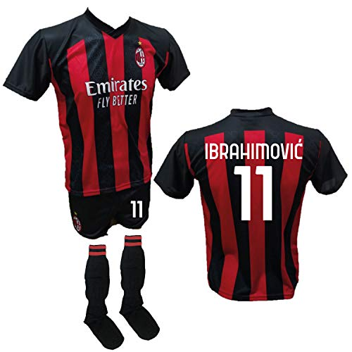 DND Di D'Andolfo Ciro Fußballtrikot Zlatan Ibrahimovic Milan, Shorts mit Nummer 11, bedruckt und zugelassene...