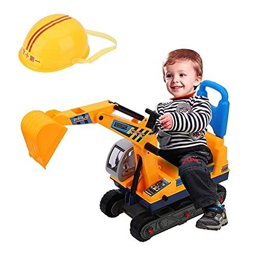 AYNEFY Bagger Kinder Spielzeug Sitzbagger mit Sitz und Helm Aufsitzbagger Robuster Schaufelbagger Raupenbagger...