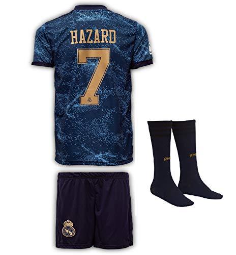 Real Madrid #7 Eden Hazard Trikot Set 2019-2020 Auswärts Kinder Fußball Trikot mit Shorts und Socken...