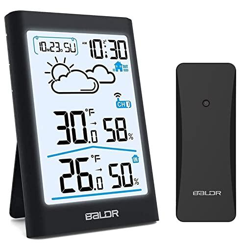 BALDR Wetterstation Funk mit Außensensor Innen Außen Digital Thermometer Hygrometer mit Wettervorhersage,...