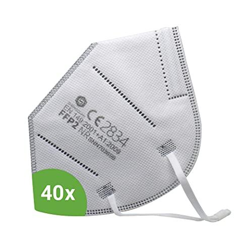 Kemes FFP2 Maske CE-Zertifiziert 40 Stück inkl. Maskenhalter Atemschutzmaske Partikelfiltermaske - Versand...