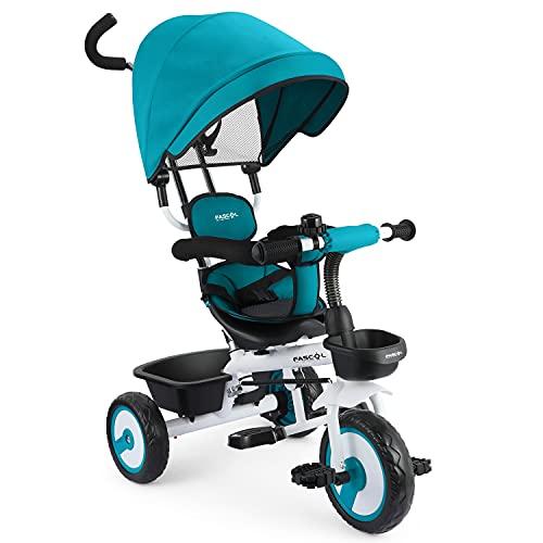 Fascol Baby Dreirad 4 in 1 Kinderdreirad Tricycle für Kinder ab 12 Monate bis 5 Jahren mit Abnehmbarer...