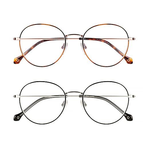 Baytion 2 Blaulichtfilter Brille Damen Herren Retro runde Computerbrille Blaulichtfilter Digitalgeräte mit...