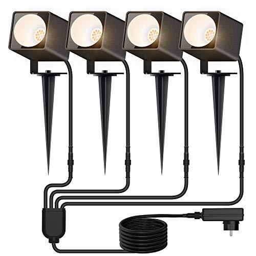 MustWin Gartenleuchte, Gartenstrahler mit Erdspieß 4 * 10W 3600LM 3000K Warmweiß LED Strahler mit Stecker 4...