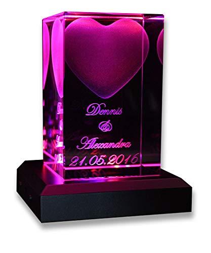 VIP-LASER 3D Glas Kristall Quader Herz mit Zwei Wunschnamen + Datum im Hochformat, Beleuchtung:mit Color...