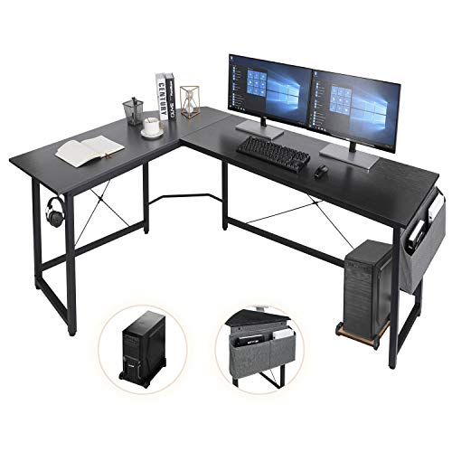 AuAg L-förmiger Schreibtisch,167cm L-Form Computertisch mit Aufbewahrungstasche und Haken, Eckschreibtisch...