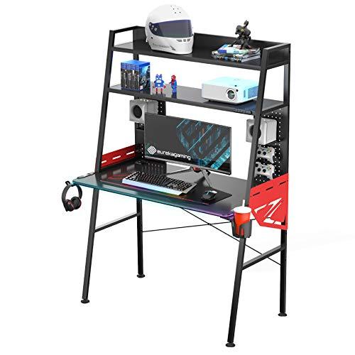EUREKA ERGONOMIC Gaming Tisch M43 Gamer Tisch mit LED Multifunktionaler Gaming Tisch Groß mit RGB Beleuchtung...