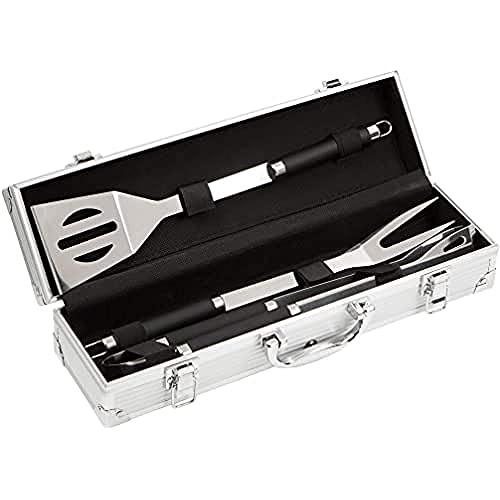 Bruzzler Edelstahl Grillutensilien 3-teiliges Set in einem eleganten Koffer für sichere Lagerung und...